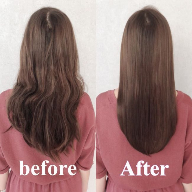 髪質改善の縮毛矯正後写真